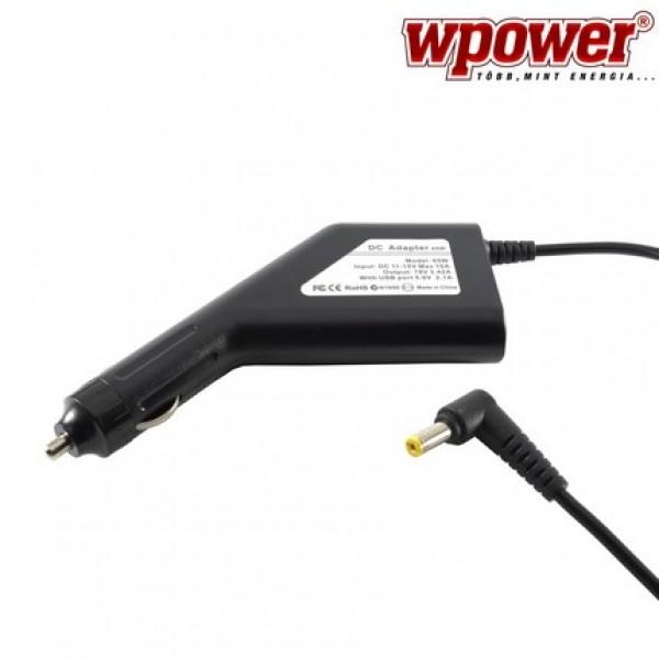 Acer Travelmate 8000 laptop autós töltő 65W + USB2.0