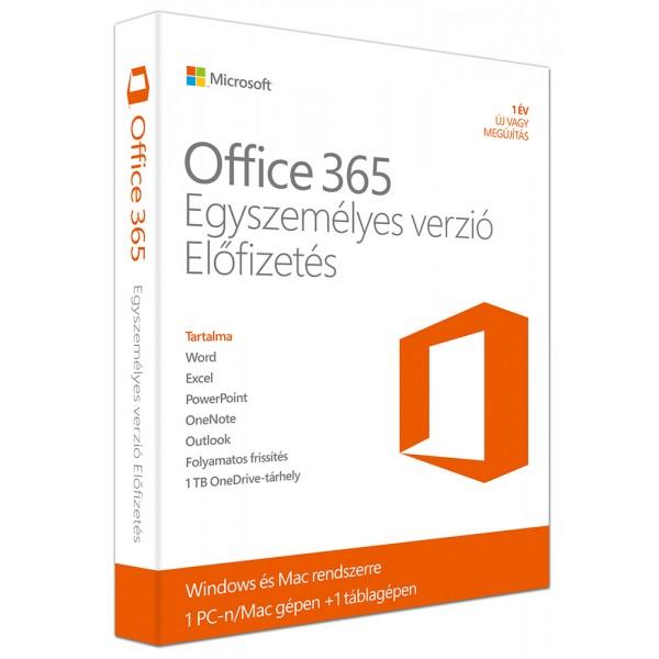 Office 365 Egyszemélyes verzió 1Y PKC Szoftver