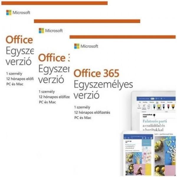 Microsoft Office 365 Egyszemélyes 3x1év előfizetés MSR Szoftver