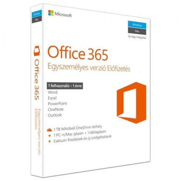 Microsoft Office 365 Egyszemélyes verzió 1Y PKC Szoftver