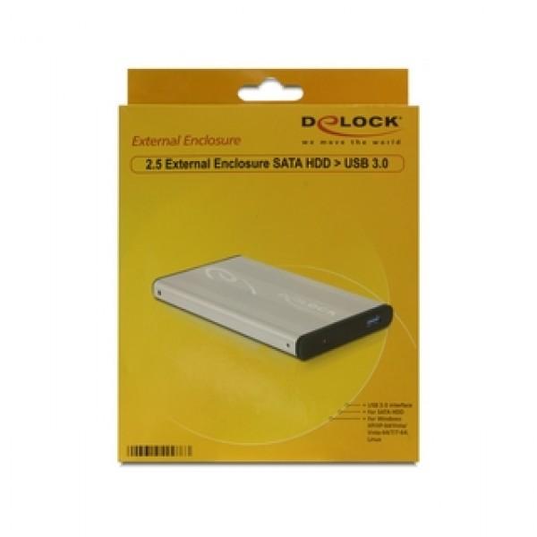 """USB 3.0 2,5"""" SATA HDD ház Delock Silver (42486) Kiegészítők"""